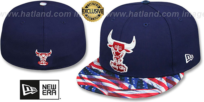 Bulls 'USA WAVING-FLAG' Navy Fitted Hat by New Era : pictured without stickers that these products are shipped with