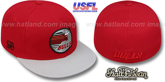 Bulls 'USFL' Fitted Red-Grey Hat by Stall & Dean : pictured without stickers that these products are shipped with