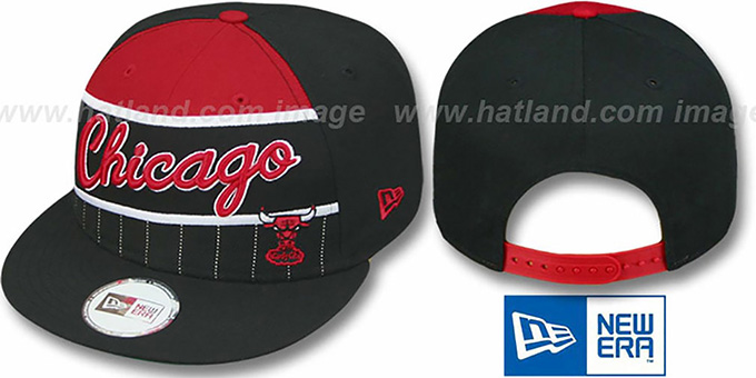 Bulls 'WARM-UP SNAPBACK' Black-Red Hat by New Era : pictured without stickers that these products are shipped with