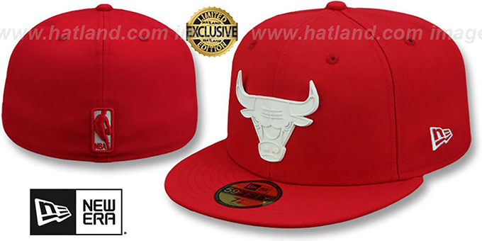 Bulls 'WHITE METAL-BADGE' Red Fitted Hat by New Era