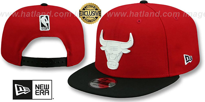 23f94c043a6 Bulls  WHITE METAL-BADGE  SNAPBACK Red-Black Hat by New Era