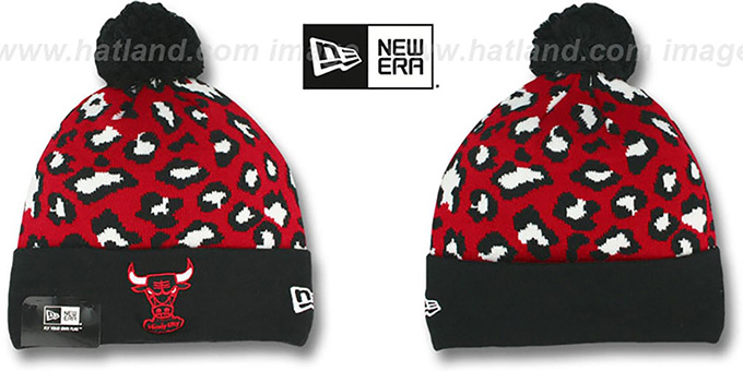 Bulls 'WINTER-JUNGLE' Knit Beanie Hat by New Era : pictured without stickers that these products are shipped with