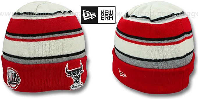 Bulls 'WINTER TRADITION' Knit Beanie Hat by New Era : pictured without stickers that these products are shipped with