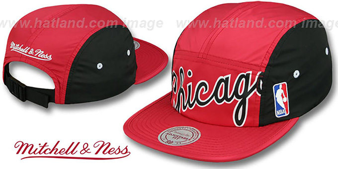 Bulls 'WORDMARK STRAPBACK' Red Hat by Mitchell & Ness : pictured without stickers that these products are shipped with