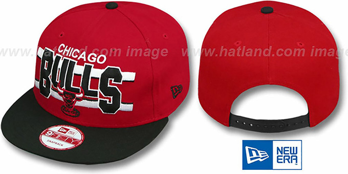 Bulls 'WORDSTRIPE SNAPBACK' Red-Black Hat by New Era : pictured without stickers that these products are shipped with