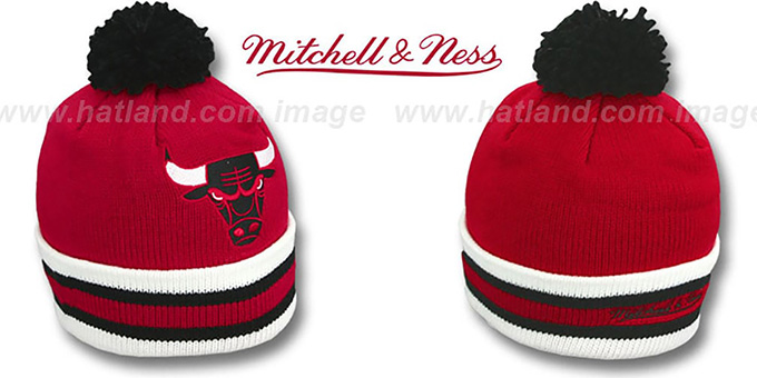 Bulls 'XL-LOGO BEANIE' Red by Mitchell and Ness : pictured without stickers that these products are shipped with