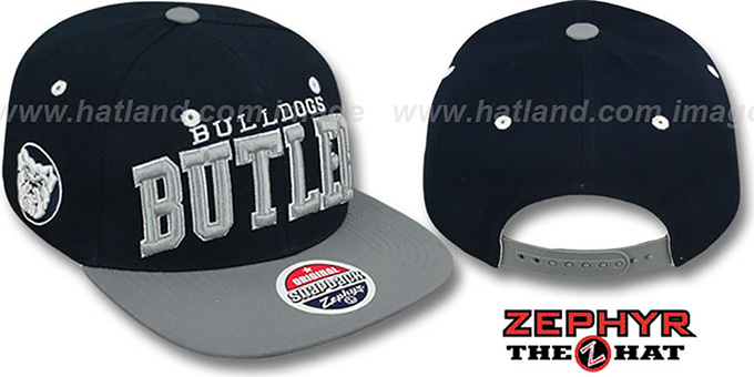 Butler '2T SUPER-ARCH SNAPBACK' Navy-Grey Adjustable Hat by Zephyr : pictured without stickers that these products are shipped with