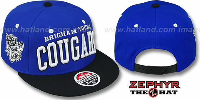 BYU '2T SUPER-ARCH SNAPBACK' Blue-Black Hat by Zephyr : pictured without stickers that these products are shipped with