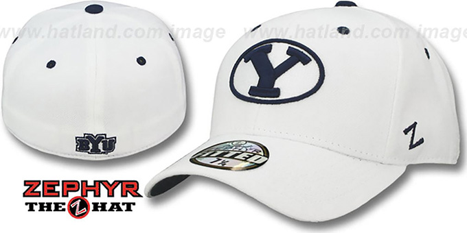 BYU 'DH' White Fitted Hat by Zephyr : pictured without stickers that these products are shipped with
