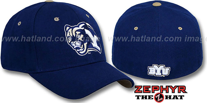 BYU 'DHS' Navy Fitted Hat by Zephyr : pictured without stickers that these products are shipped with
