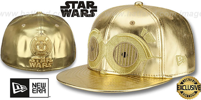 C3PO 'CHARACTER FACE' Fitted Hat by New Era : pictured without stickers that these products are shipped with