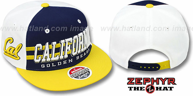 Cal '2T SUPERSONIC SNAPBACK' Navy-Gold Hat by Zephyr : pictured without stickers that these products are shipped with