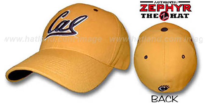 Cal 'DH' Fitted Hat by ZEPHYR - gold : pictured without stickers that these products are shipped with