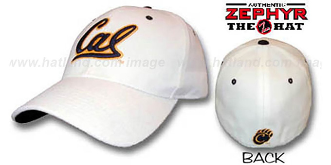 Cal 'DH' Fitted Hat by ZEPHYR - white : pictured without stickers that these products are shipped with