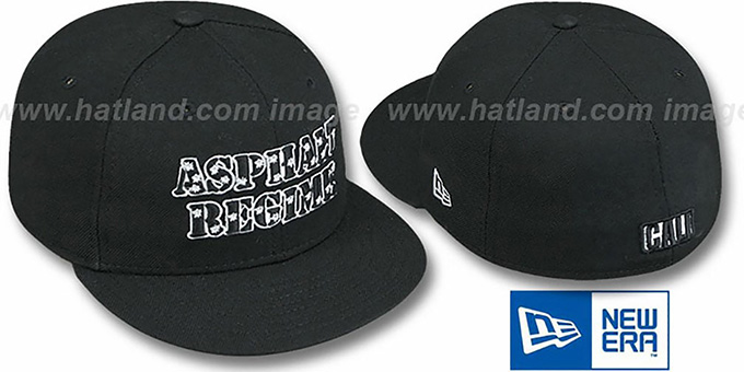California 'ASPHALT REGIME' Black Fitted Hat by New Era : pictured without stickers that these products are shipped with