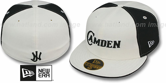 Camden 'PINWHEEL-CITY' White-Black-White Fitted Hat by New Era : pictured without stickers that these products are shipped with