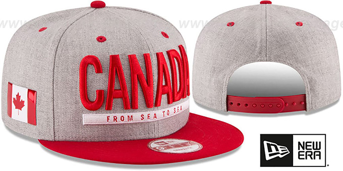 Canada 'FLAG PHRASE SNAPBACK' Grey-Red Hat by New Era : pictured without stickers that these products are shipped with