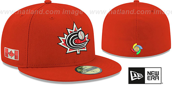 Canada 'PERFORMANCE WBC-2' Red Hat by New Era : pictured without stickers that these products are shipped with