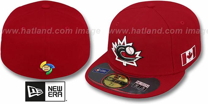 Canada 'PERFORMANCE WBC' Red Hat by New Era : pictured without stickers that these products are shipped with
