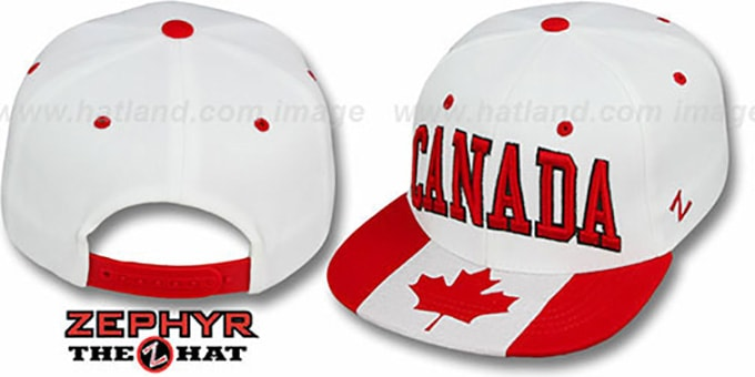 Canada 'SUPERSTAR SNAPBACK' White Hat by Zephyr : pictured without stickers that these products are shipped with