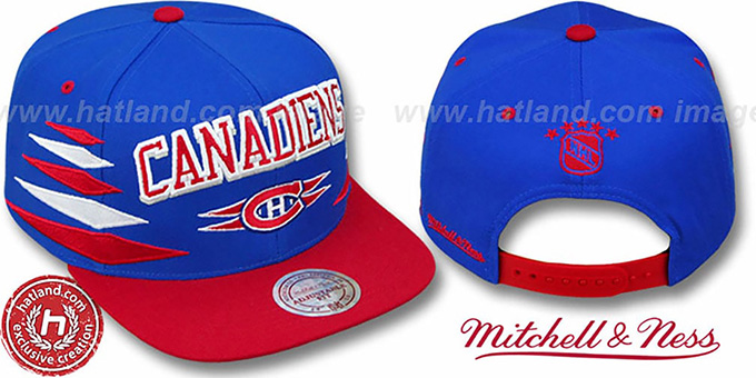 Canadiens '2T DIAMONDS SNAPBACK' Royal-Red Adjustable Hat by Mitchell & Ness : pictured without stickers that these products are shipped with