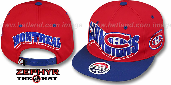 Canadiens '2T FLASHBACK SNAPBACK' Red-Royal Hat by Zephyr : pictured without stickers that these products are shipped with