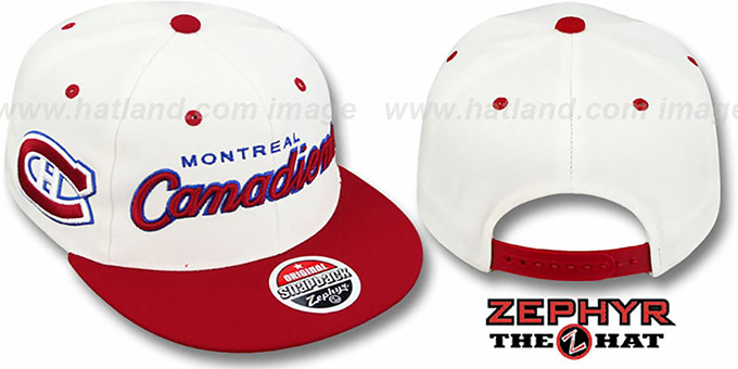 Canadiens '2T HEADLINER SNAPBACK' White-Red Hat by Zephyr : pictured without stickers that these products are shipped with