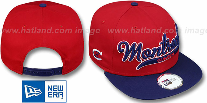 Canadiens '2T SCRIPTER SNAPBACK' Red-Navy Hat by New Era : pictured without stickers that these products are shipped with