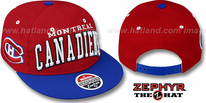 Canadiens '2T SUPER-ARCH SNAPBACK' Red-Royal Hat by Zephyr : pictured without stickers that these products are shipped with
