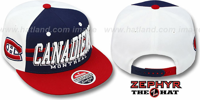 Canadiens '2T SUPERSONIC SNAPBACK' Navy-Red Hat by Zephyr : pictured without stickers that these products are shipped with