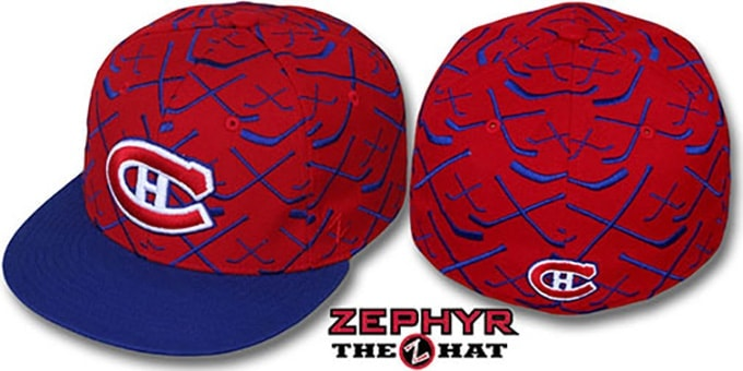 Canadiens '2T TOP-SHELF' Red-Royal Fitted Hat by Zephyr : pictured without stickers that these products are shipped with