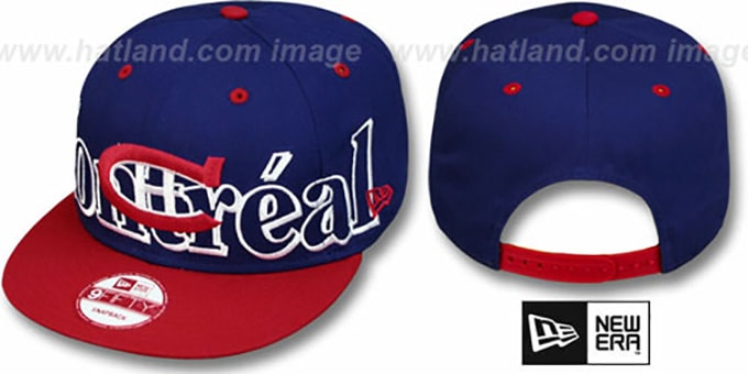 Canadiens 'BIG CITY PUNCH SNAPBACK' Royal-Red Hat by New Era : pictured without stickers that these products are shipped with