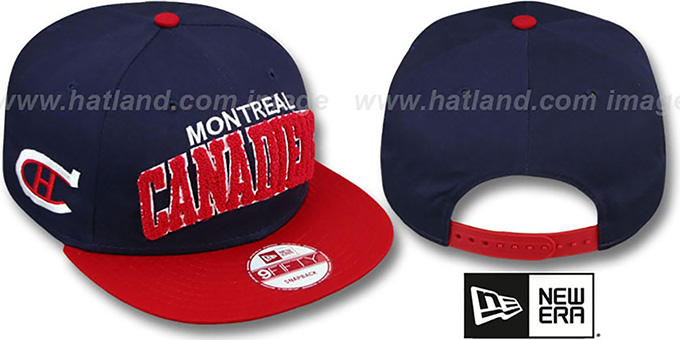 Canadiens 'CHENILLE-ARCH SNAPBACK' Navy-Red Hat by New Era : pictured without stickers that these products are shipped with