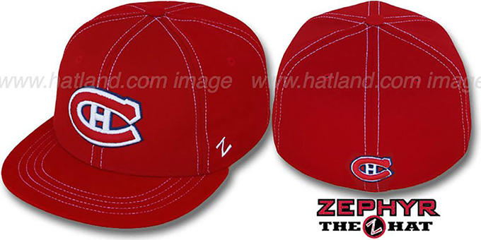 Canadiens 'CONTRAST THREAT' Red Fitted Hat by Zephyr : pictured without stickers that these products are shipped with