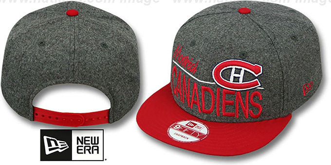 Canadiens 'FLANNEL SNAPBACK' Grey-Red Hat by New Era : pictured without stickers that these products are shipped with