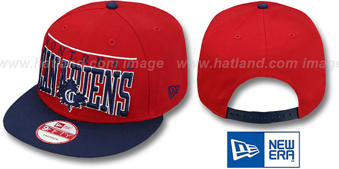Canadiens 'LE-ARCH SNAPBACK' Red-Navy Hat by New Era : pictured without stickers that these products are shipped with