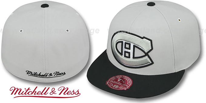 Canadiens 'MONOCHROME XL-LOGO' Grey-Black Fitted Hat by Mitchell & Ness : pictured without stickers that these products are shipped with