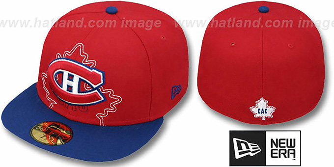 Canadiens 'NEW MIXIN' Red-Royal Fitted Hat by New Era : pictured without stickers that these products are shipped with