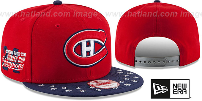 Canadiens 'NHL STAR-TRIM SNAPBACK' Red-Navy Hat by New Era : pictured without stickers that these products are shipped with