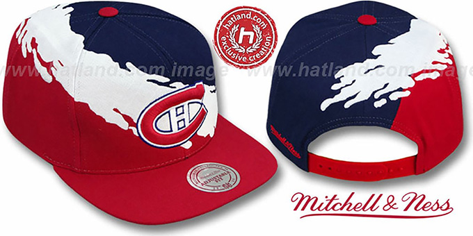 Canadiens 'PAINTBRUSH SNAPBACK' Navy-White-Red Hat by Mitchell & Ness : pictured without stickers that these products are shipped with