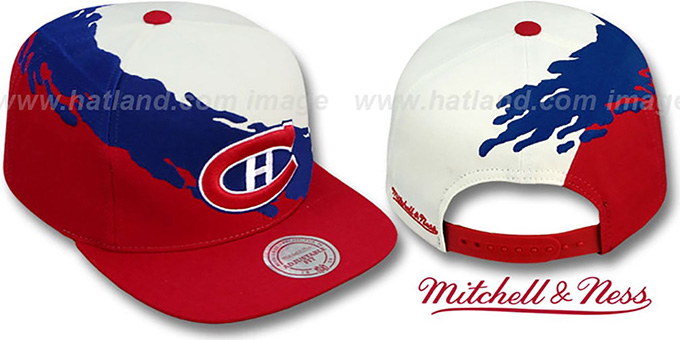Canadiens 'PAINTBRUSH SNAPBACK' White-Navy-Red Hat by Mitchell & Ness : pictured without stickers that these products are shipped with