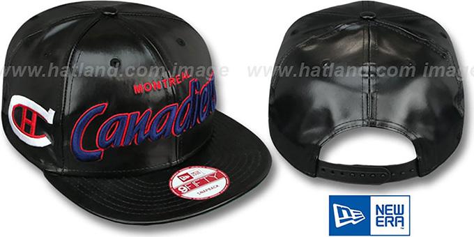 Canadiens 'REDUX SNAPBACK' Black Hat by New Era : pictured without stickers that these products are shipped with