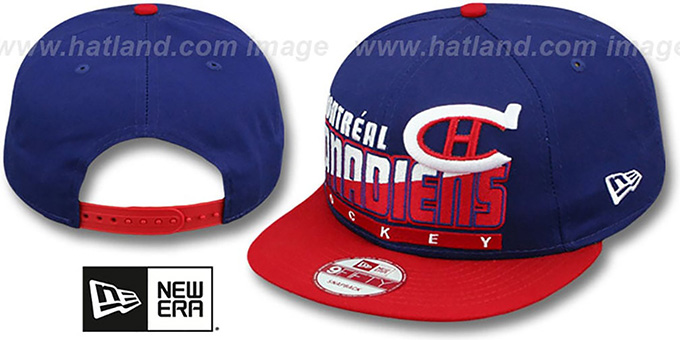 Canadiens 'SLICE-N-DICE SNAPBACK' Royal-Red Hat by New Era : pictured without stickers that these products are shipped with