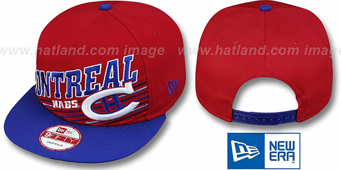 Canadiens 'STILL ANGLIN SNAPBACK' Red-Royal Hat by New Era : pictured without stickers that these products are shipped with