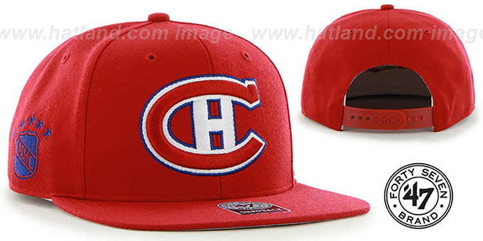 Canadiens 'SURE-SHOT SNAPBACK' Red Hat by Twins 47 Brand : pictured without stickers that these products are shipped with