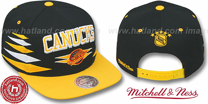 Canucks '2T DIAMONDS SNAPBACK' Black-Gold Adjustable Hat by Mitchell & Ness : pictured without stickers that these products are shipped with