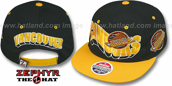Canucks '2T FLASHBACK SNAPBACK' Black-Gold Hat by Zephyr : pictured without stickers that these products are shipped with