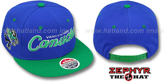 Canucks '2T HEADLINER SNAPBACK' Royal-Green Hat by Zephyr : pictured without stickers that these products are shipped with