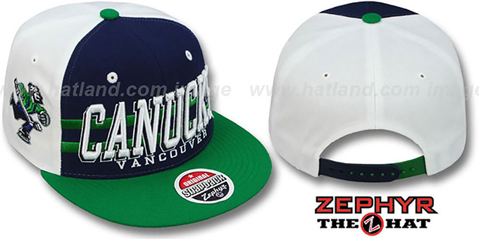 Canucks '2T SUPERSONIC SNAPBACK' Navy-Green Hat by Zephyr : pictured without stickers that these products are shipped with