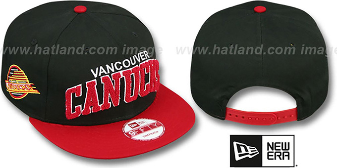 Canucks 'CHENILLE-ARCH SNAPBACK' Black-Red Hat by New Era : pictured without stickers that these products are shipped with